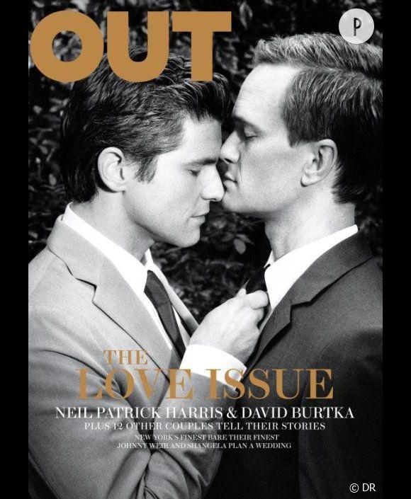 Neil Patrick Harris et David Burtka en couverture du magazine Out, Love Issue.