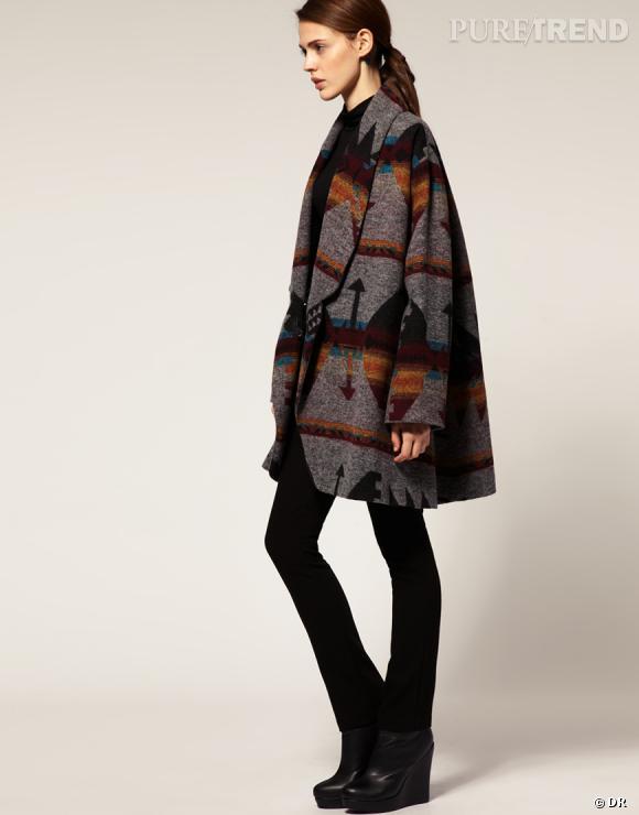 Zoom sur le style Navajo : le shopping  Manteau motif Aztèque Asos, 83,85 € sur www.asos.fr