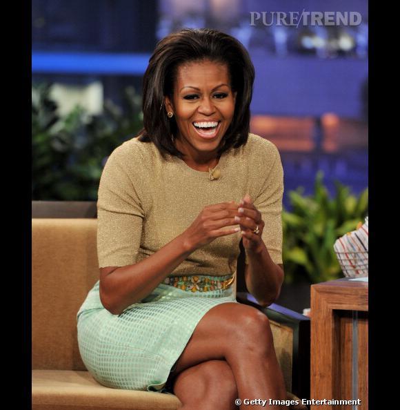 Michelle Obama éclate de rire lors du Tonight Show de Jay Leno.