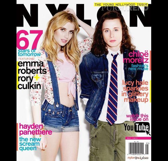 """A la sortie de """"Scream 4"""", Emma Roberts et Rory Culkin posent pour le numéro spécial """"Young Hollywood"""" de Nylon."""