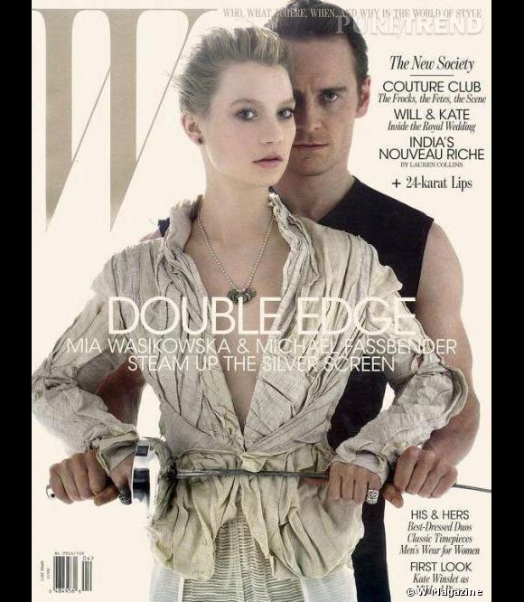 """Visiblement adepte des covers en duos, W magazine s'offre les partenaires de """"Jane Eyre"""", Mia Wasikowska et Michael Fassbender."""