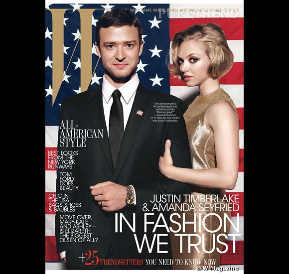 """Le duo de """"Time Out"""", Justin Timberlake et Amanda Seyfried joue les couples présidentiels pour le magazine W."""