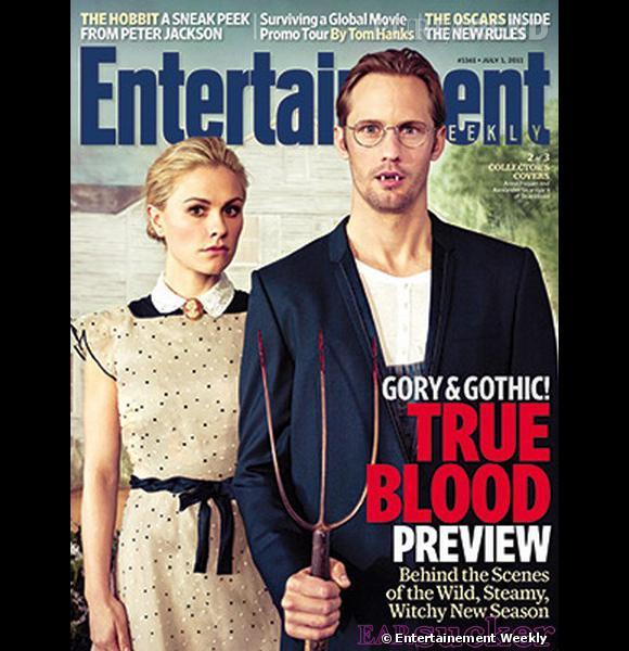 """Anna Paquin et Alexander Skarsgaard revisitent le tableau """"American Gothic"""" à la sauce hémoglobine pour Entertainment Weekly."""