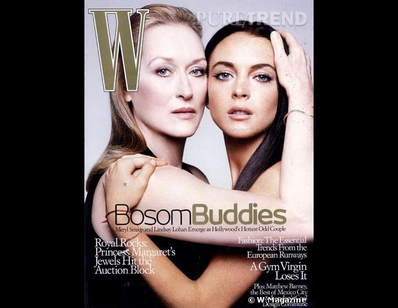 """W Magazine s'impose comme le spécialiste des duos. Place à Meryl Streep et Lindsay Lohan qui partagent l'affiche du film """"A Prairie Home Companion""""."""