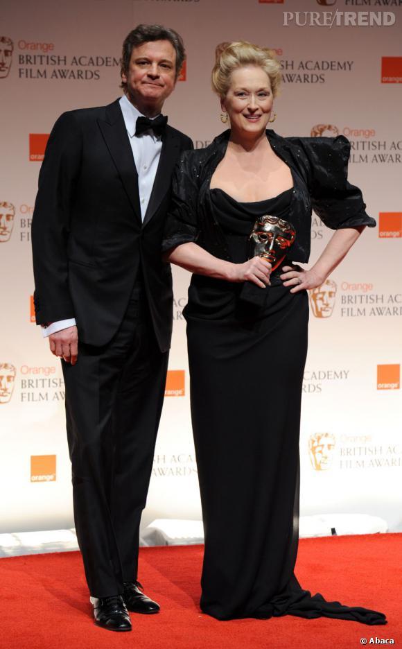 """Colin Firth et Meryl Streep repartie avec un prix pour """"La dame de fer""""."""