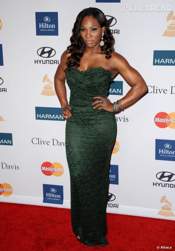Serena Williams au gala pré-Grammy organisé par Clive Davis à Los Angeles.