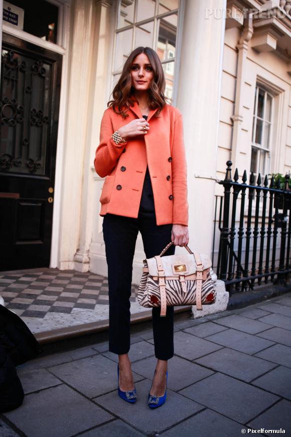 Olivia Palermo a bien écouté les conseil de son styliste personnel : la bonne veste mi-saison doit être certes bien coupée, mais surtout dans les tons pastel.