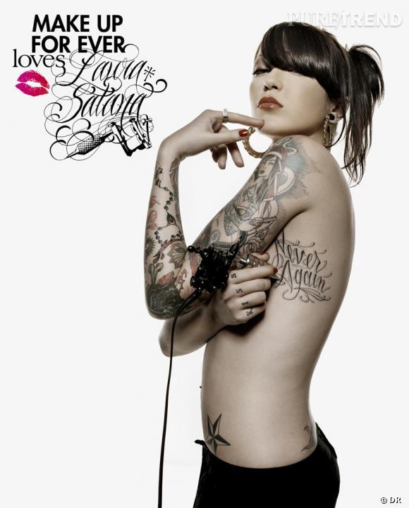 Laura Satana, la célèbre tatoueuse s'associe à Make Up For Ever au mois de mai.