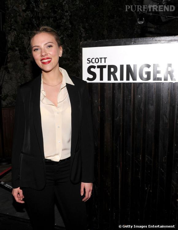 Scarlett Johansson à la soirée Scott Stringer à New York.