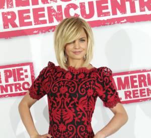 "Mena Suvari à Madrid pour le photocall du film ""American Pie : reunion""."