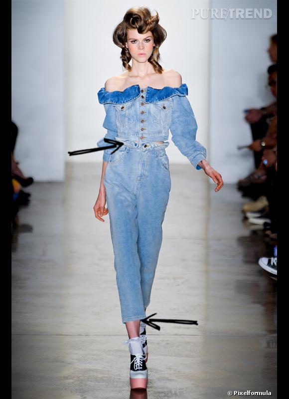 Comment porter le denim cet été 2012 ?  Comme chez Jeremy Scott on adopte le jean taille haute pour une allure de pin-up