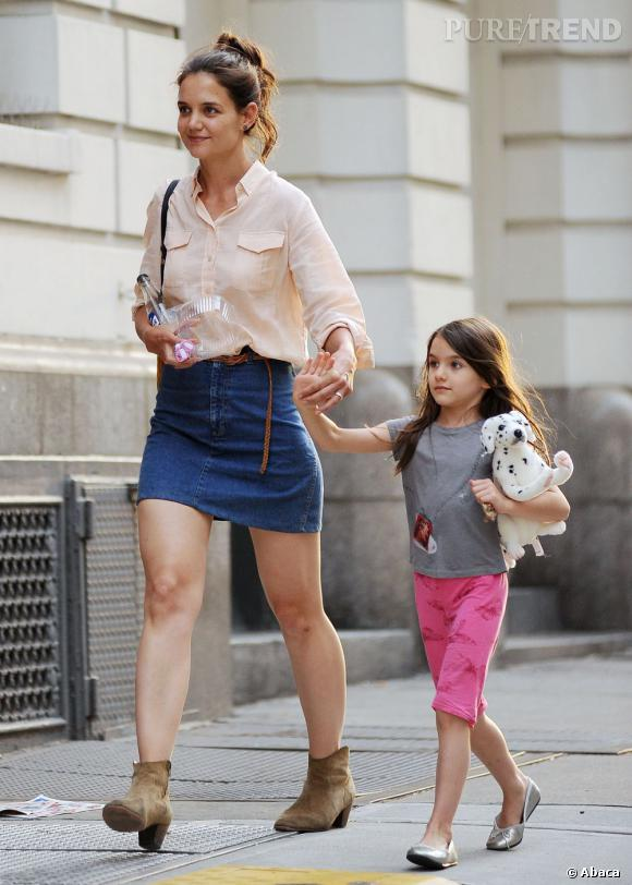 Katie Holmes dans les rues de New York avec sa fille Suri Cruise.