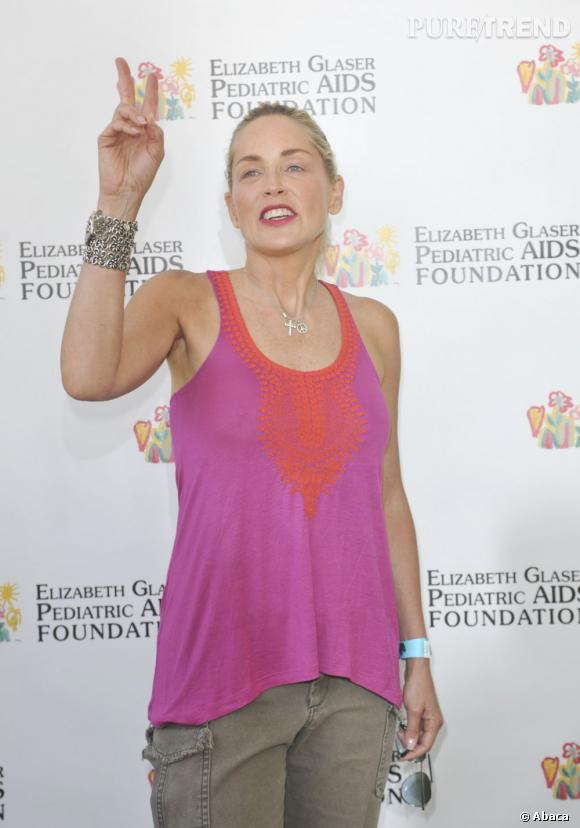 Sharon Stone, trop peace and love au pique-nique Time For Heroes.