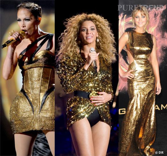Sur scène ou sur tapis rouge, les stars adoptent l'or en total look... De véritables Golden Girls !