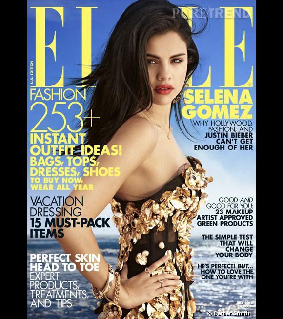 Selena Gomez en couverture du magazine Elle Us pour juillet 2012.
