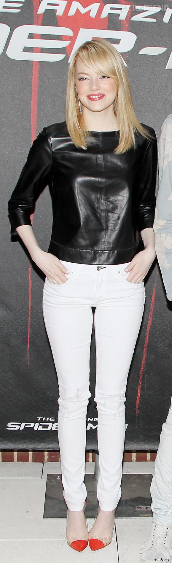 "Emma Stone au photocall du film ""The Amazing Spider-Man"" le 9 juin à New-York."