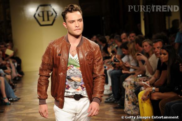 Ed Westwick égérie Philipp Plein à la fashion week Printemps-Eté 2013 Homme à Milan.