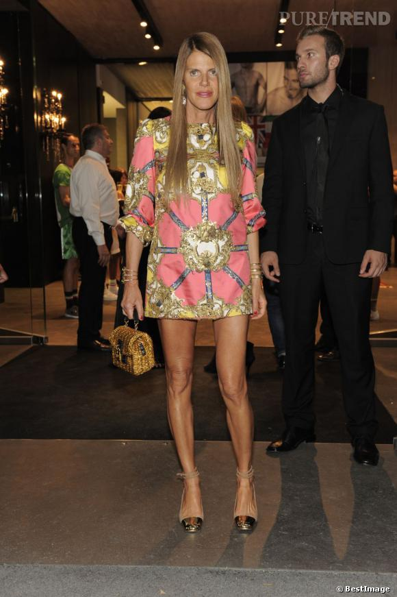 Anna Dello Russo à la Dolce & Gabbana Party durant la Fashion Week 2013 à Milan le 24 juin.