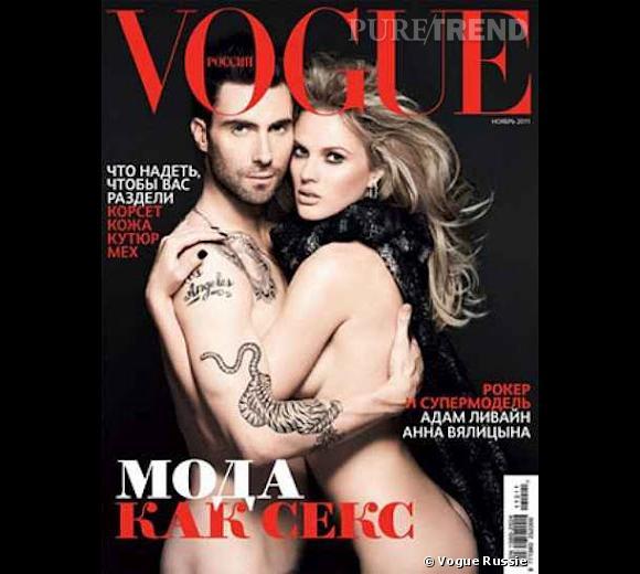 Le top Anne V fait la couv nue pour le Vogue russe uniquement couverte par son désormais ex-boyfriend, Adam Levine.