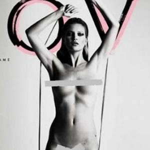 Avec sa silhouette androgyne Kate Moss s'affiche nue en couverture de magazine sans aucun complexe ou vulgarité.