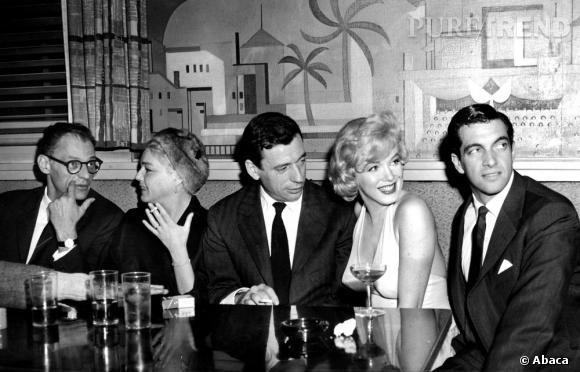 Marilyn Monroe en compagnie dYves Montand et de Simone Signoret.
