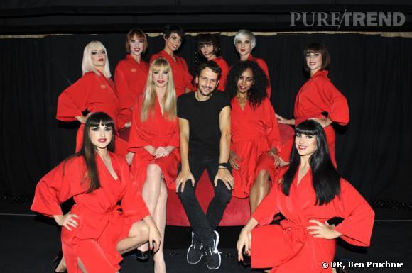 Marios Schawb entouré des filles du Crazy Horse pour le lancement de sa ligne de lingerie en collaboration avec Asos Inc.