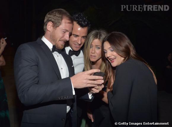Jennifer Aniston, Drew Barrymore accompagnées de Will Kopelman et Justin Theroux à la soirée LACMA Art + Film 2012 à Los Angeles.