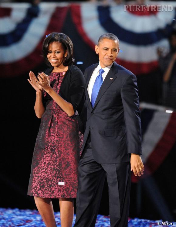 Michelle Obama aux côtés de son mari pour fêter le résultat des élections.