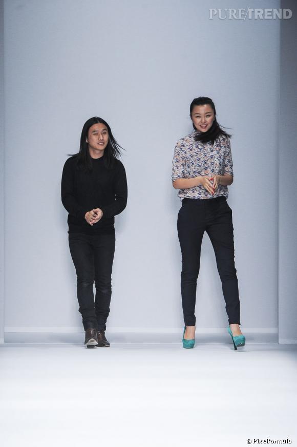 Les directeurs artistiques  Cacharel  Ling Liu et Dawei Sun lors du défilé Cacharel Printemps-Été 2013.