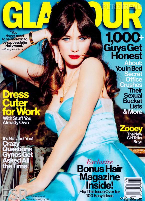 Zooey Deschanel pour le glamour du mois de février 2013.
