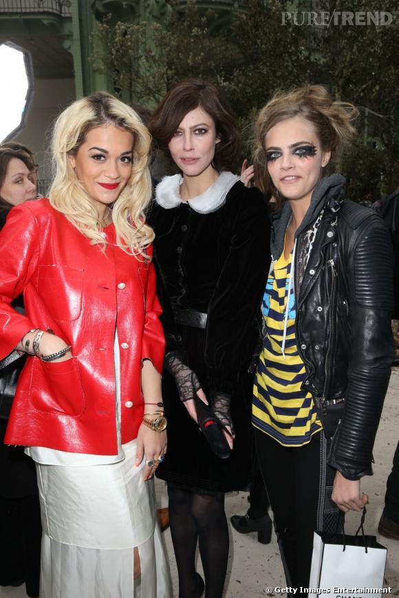 Rita Ora, Anna Mouglalis et Cara Delevingne chez Chanel.