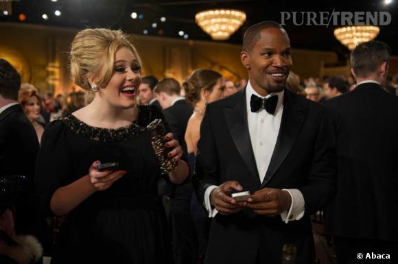 Adele et Jamie Foxx lors de la soirée des Golden Globes.