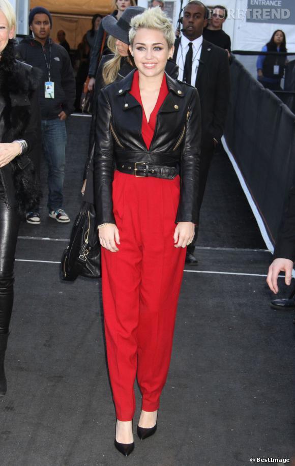 Miley Cyrus lors du défilé Rachel Zoe pendant la Fashion Week de New York.