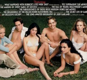 Marley Shelton, Chris Klein, Selma Blair, Paul Walker, Jordana Brewster, et Sarah Wynter sur la couverture intérieure du Vanity Fair mars 2000.