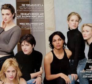 Rachel Weisz, Brittany Murphy, Selma Blair, Rosario Dawson, Christina Applegate et Naomi Watts en couverture intérieure du Vanity Fair Hollywood Issue 2002.