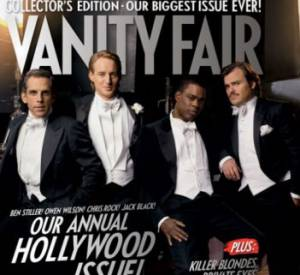 Ben Stiller, Owen Wilson, Chris Rock, et Jack Black en couverture du Vanity Fair Hollywood Issue 2007.
