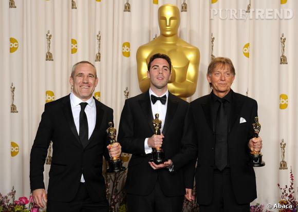 """Andy Nelson, Mark Paterson et Simon Hayes, meilleur mixage son pour """"Les misérables""""."""