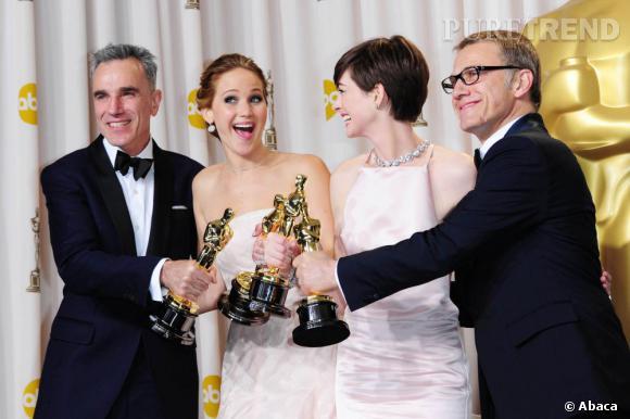 Daniel Day-Lewis, Jennifer Lawrence, Anne Hathaway et Christoph Waltz, le palmarès des Oscars 2013.
