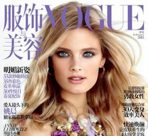 Constance Jablonski et le détail fleuri pour Vogue.