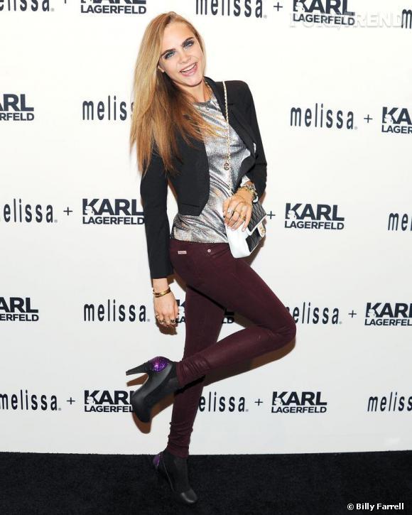 Cara Delevingne à la soirée de lancement de la collection Melissa x Karl Lagerfled.