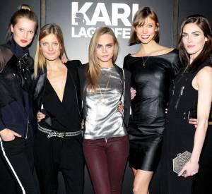 Toni Ward, Constance Jablonski, Cara Delevingne, Karlie Kloss et Hilary Rhoda à la soirée de lancement de la collection Melissa x Karl Lagerfled.