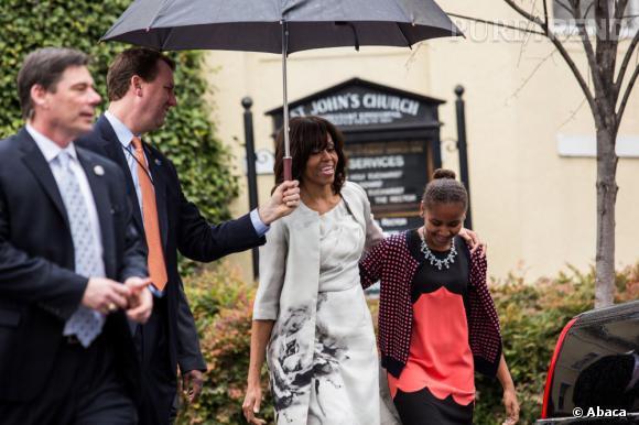 Michelle Obama et sa fille Sasha.