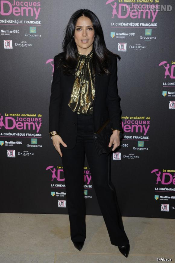 Salma Hayek à l'exposition Jacques Demy à la Cinémathèque francçaise à Paris.