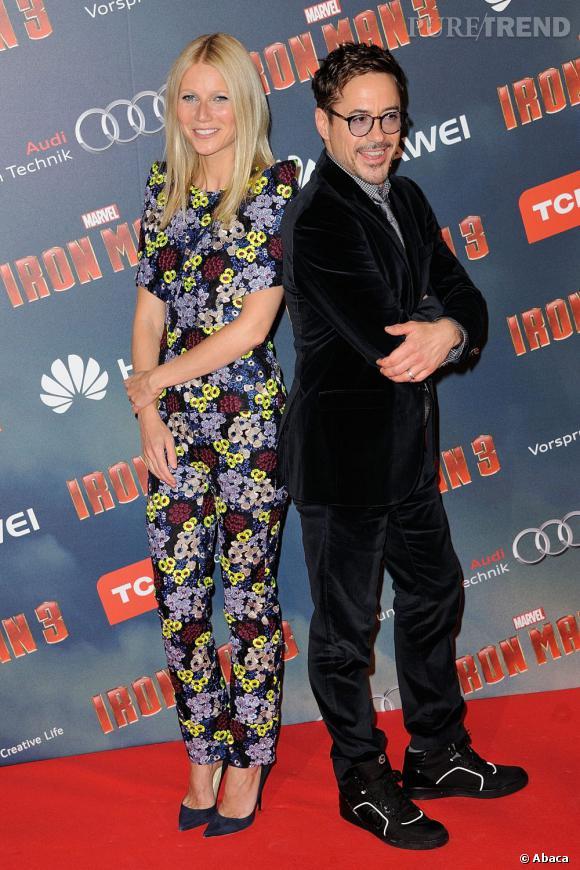 """Gwyneth Paltrow et Robert Downey Jr à l'avant première d'""""Iron Man 3"""" à Paris."""