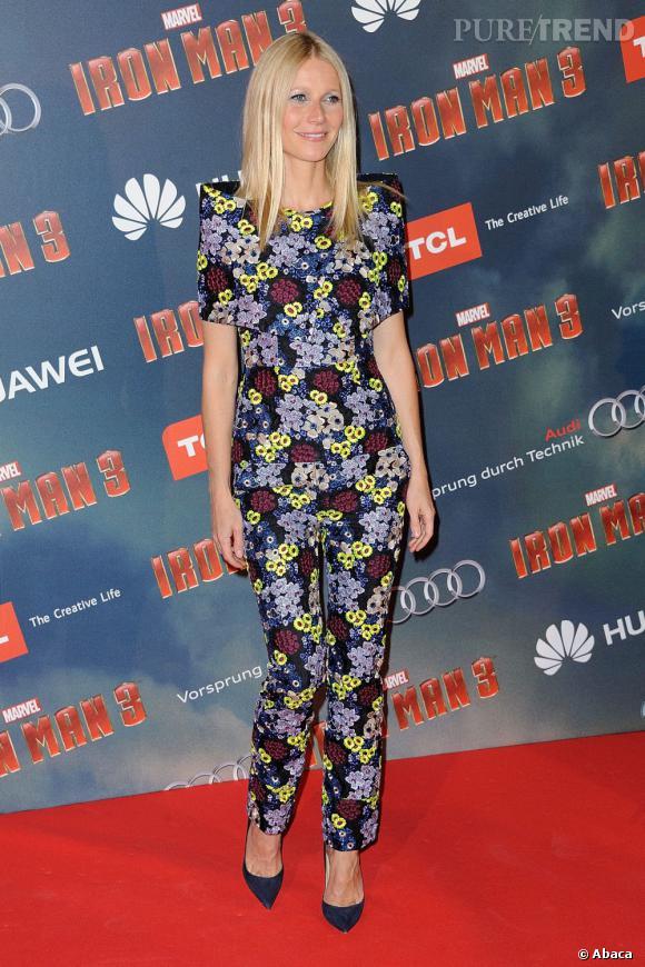 """Gwyneth Paltrow à l'avant première d'""""Iron Man 3"""" à Paris porte un ensemble Erdem."""