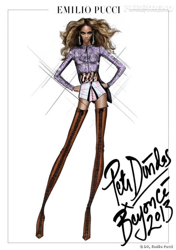 Beyoncé en minishort par Peter Dundas, Directeur artistique d'Emilio Pucci.