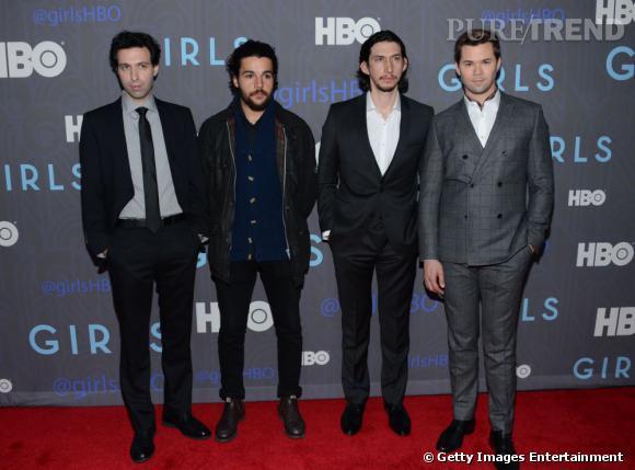 Les principaux boys de la série Girls : (de gauche à droite) Alex Kapovsky, Christopher Abbott, Adam Driver, Andrew Rannells