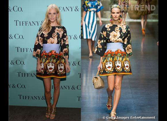 Poppy Delevingne porte une tenue complète Dolce & Gabbana collection Printemps 2013.