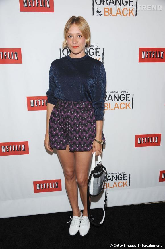 """Chloë Sevigny à la première de """"Orange is the new black"""", un look tendance et audacieux."""