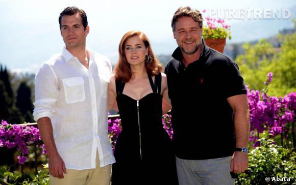 """Henry Cavill, Rachel McAdams et Russell Crowe en pleine promotion de """"Man of Steel""""."""